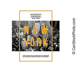 mã¤nnerhemd, abbildung, stadt, typographie, neu , tee, york, grafik