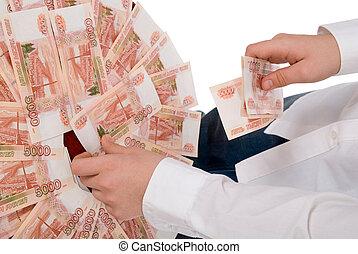 mã¤nnerhemd, geld, hand, person, versammelt, weißes