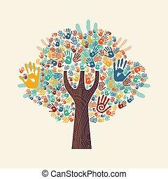 mão, árvore, coloridos, diverso, comunidade, ilustração