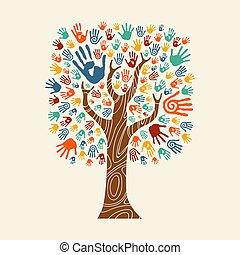 mão, árvore, ilustração, coloridos, diverso, comunidade