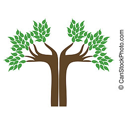 mão, árvore., vetorial