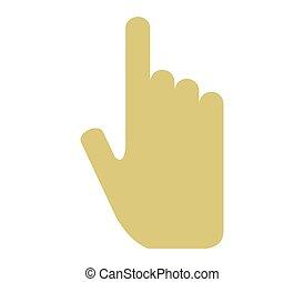 mão, ícone, apontar