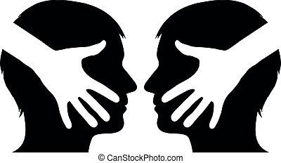 mão, 2, entre, homem, abanar