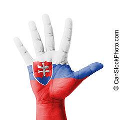 mão aberta, levantado, multi, propósito, conceito, bandeira...