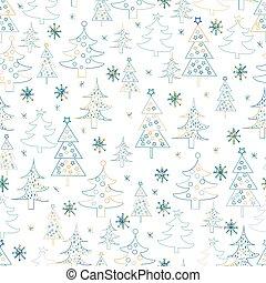 mão, abeto, padrão, árvores, desenhado, natal, experiência., seamless, snowflakes.