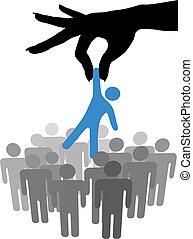 mão, achar, selecione, pessoa, em, pessoas, grupo