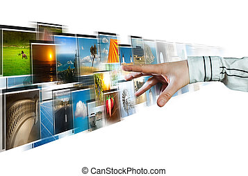 mão, alcançar, imagens, streaming, de, fundo