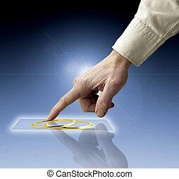 mão, alcançar, imagens, streaming, de, futuro, tela