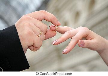 mão, anel, põe, outro, mão