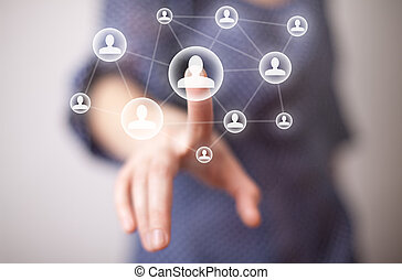 mão, apertando, social, mídia, ícone