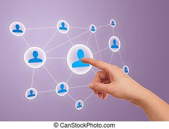 mão, apertando, social, rede, ícone