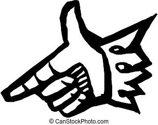 mão apontando, dedo, ilustração