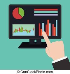 mão apontando, para, conduzido, monitor, para, analytics,...