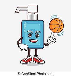 mão, basquetebol, personagem, caricatura, sanitizer, mascote
