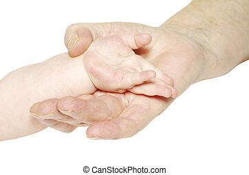 mão, bebê