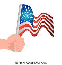 mão, branca, unidas, fundo, estados, bandeira