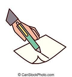 mão, caneta, papel, segurando, escrita