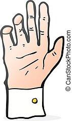 mão, caricatura, alcançar