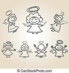 mão, caricatura, anjo, desenhos