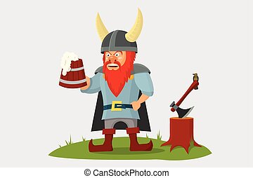 mão, caricatura, cerveja assalta, viking