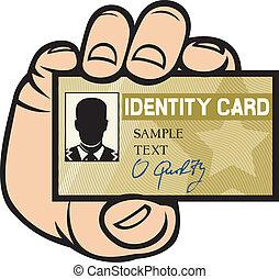mão, cartão id, segurando