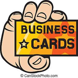 mão, cartão negócio, segurando