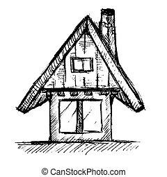 mão, casa, vetorial, ilustração, desenhado