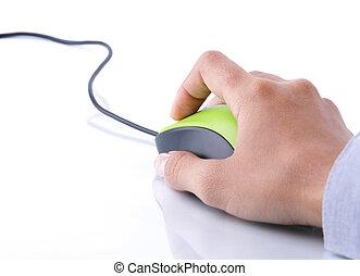 mão, clicando, rato, computador