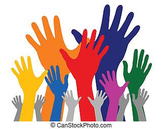 mão, coloridos