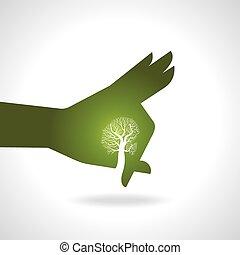 mão, com, árvore