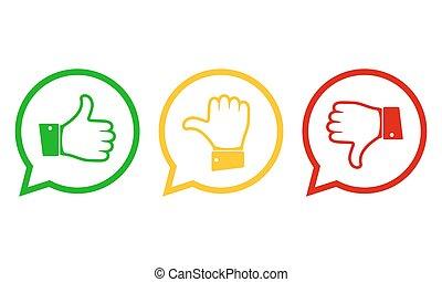 mão, com, a, thumb., vetorial, illustration.