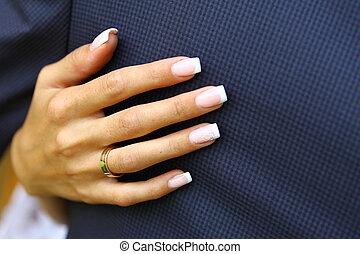 mão, com, anel