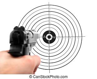 mão, com, arma, alvo disparando