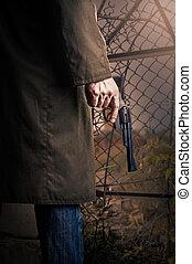 mão, com, arma