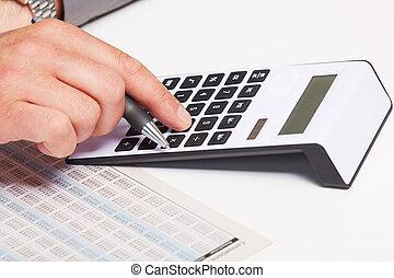 mão, com, calculator.