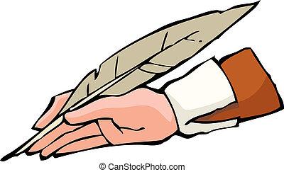 mão, com, caneta
