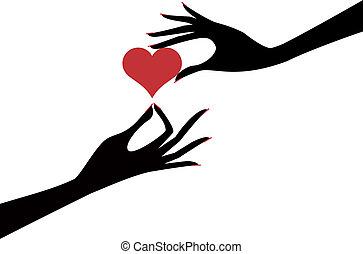 mão, com, coração