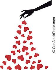 mão, com, corações, vetorial