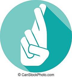 mão, com, dedos cruzados, apartamento, ícone