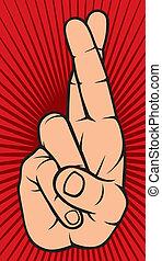 mão, com, dedos cruzados