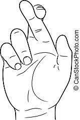mão, com, dedos cruzados, de, vetorial, ilustração