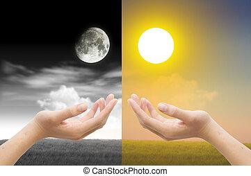 mão, com, dia noite, conceito