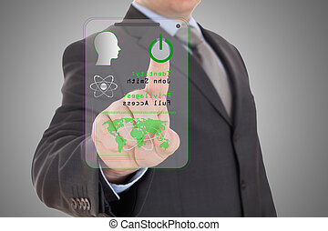mão, com, digital, scanner.