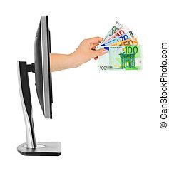 mão, com, dinheiro, e, monitor computador