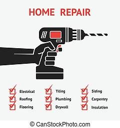 mão, com, drill., lar repara, conceito