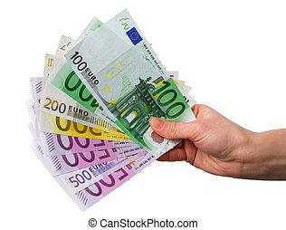 mão, com, euro notas, isolado, sobre, fundo branco