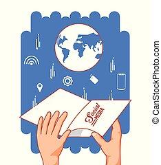 mão, com, globo, mundo, e, social, mídia, jogo, ícones