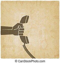 mão, com, monofone telefone