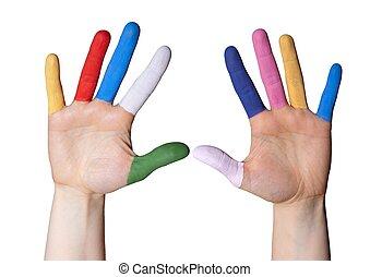 mão, com, pintado, dedos