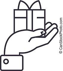 mão, com, presente, vetorial, linha, ícone, sinal, ilustração, experiência, editable, golpes